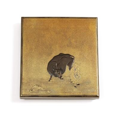 View 1. Thumbnail of Lot 74. A rare nashiji gold and silver inlaid suzuribak, Japan, Edo period.