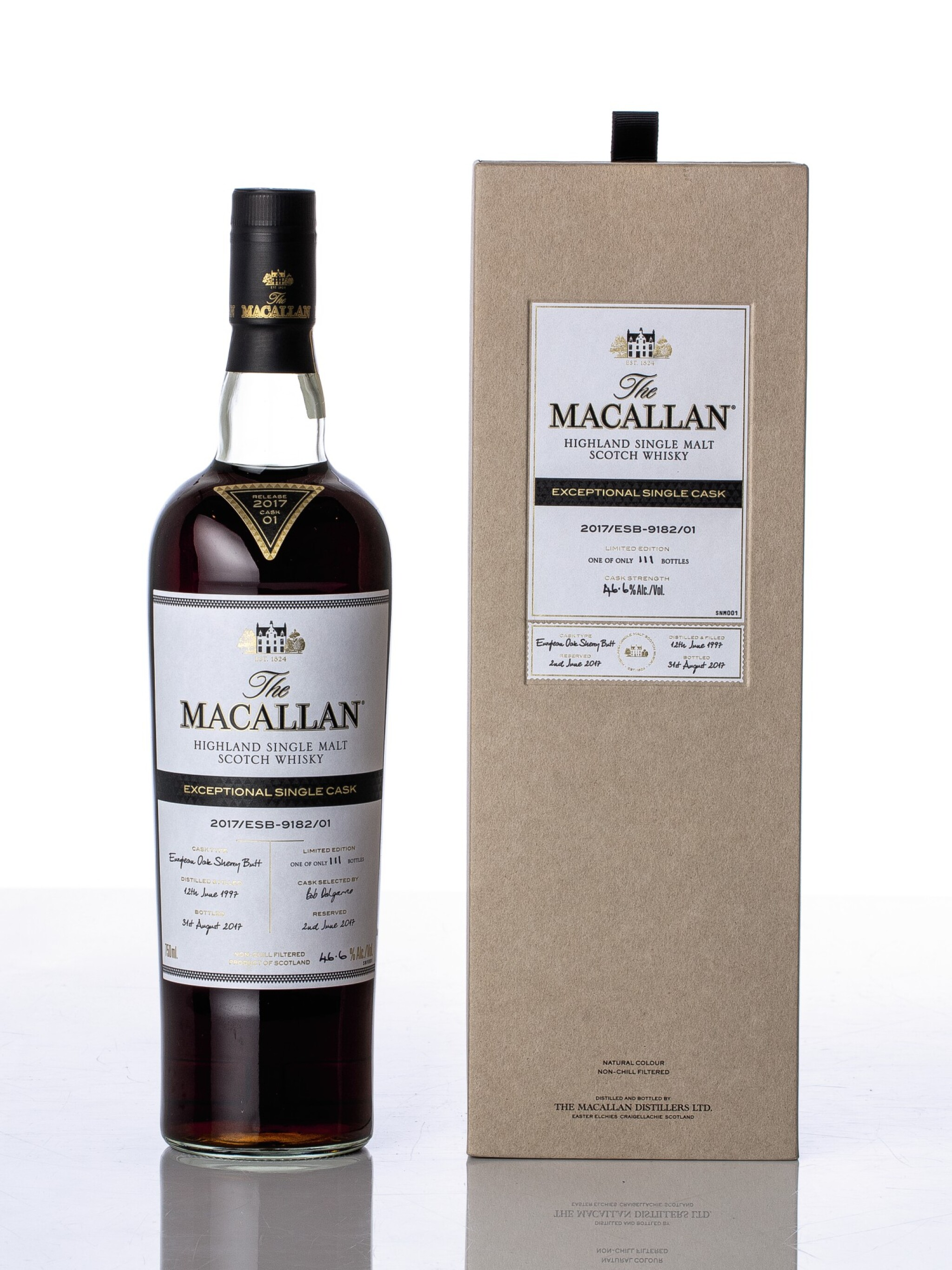 View full screen - View 1 of Lot 5514. The Macallan Exceptional Single Cask 2017/ESB-9182/01 46.6 abv 1997 (1 BT75).
