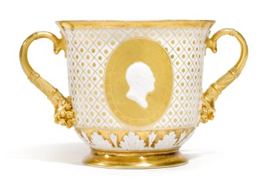 View 1. Thumbnail of Lot 259. A TWO-HANDED PORCELAIN CUP, PROBABLY IMPERIAL PORCELAIN FACTORY, ST PETERSBURG, CIRCA 1820.