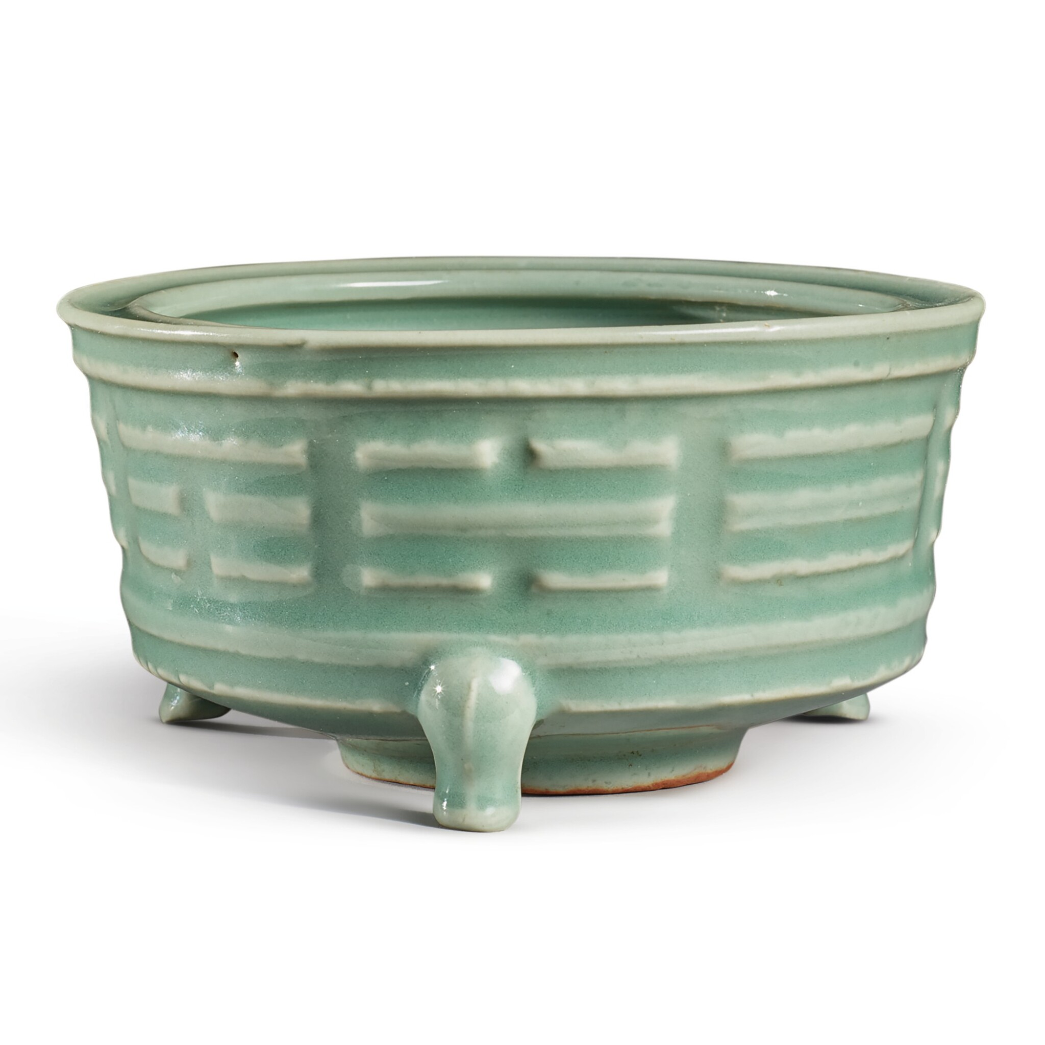 View full screen - View 1 of Lot 115. A 'Longquan' celadon-glazed 'trigram' censer, Southern Song / Yuan dynasty   南宋 / 元 龍泉窰青釉八卦紋奩式爐.