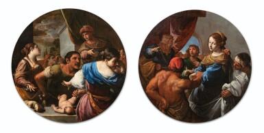 View 1. Thumbnail of Lot 34. The Judgement of Solomon; Daniel defending Susanna.