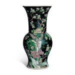 A famille-noire 'bird and flower' yenyen vase, Qing dynasty, 19th century
