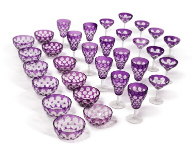 AN AMETHYST-OVERLAY AND CUT GLASS TABLE SERVICE, 20TH CENTURY