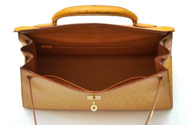 View 5. Thumbnail of Lot 315. Saffron Sellier Kelly 35 in Ostrich Leather with Gold Hardware, 1996.