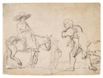 ATTRIBUTED TO JAN SIBERECHTS |  SHEET OF STUDIES: A PEASANT WOMAN RIDING ON A MULE, ANOTHER WALKING, CARRYING A DEAD FOWL, AND A MAN CARRYING A DEAD DEER BEING BARKED AT BY A DOG