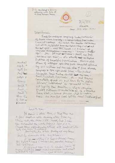 View 2. Thumbnail of Lot 119. (CARR, LUCIEN)   Ginsberg, Allen. An extraordinary archive of letters, postcards, and miscellaneous presentation items from Ginsberg to Carr — with letters and cards from William S. Burroughs, Neal Cassady, and others. 1958, 1977–1996.