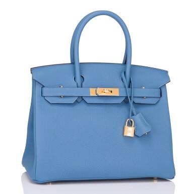 View 2. Thumbnail of Lot 22. Hermès Bleu Azur Birkin 30cm of Togo Leather with Gold Hardware.