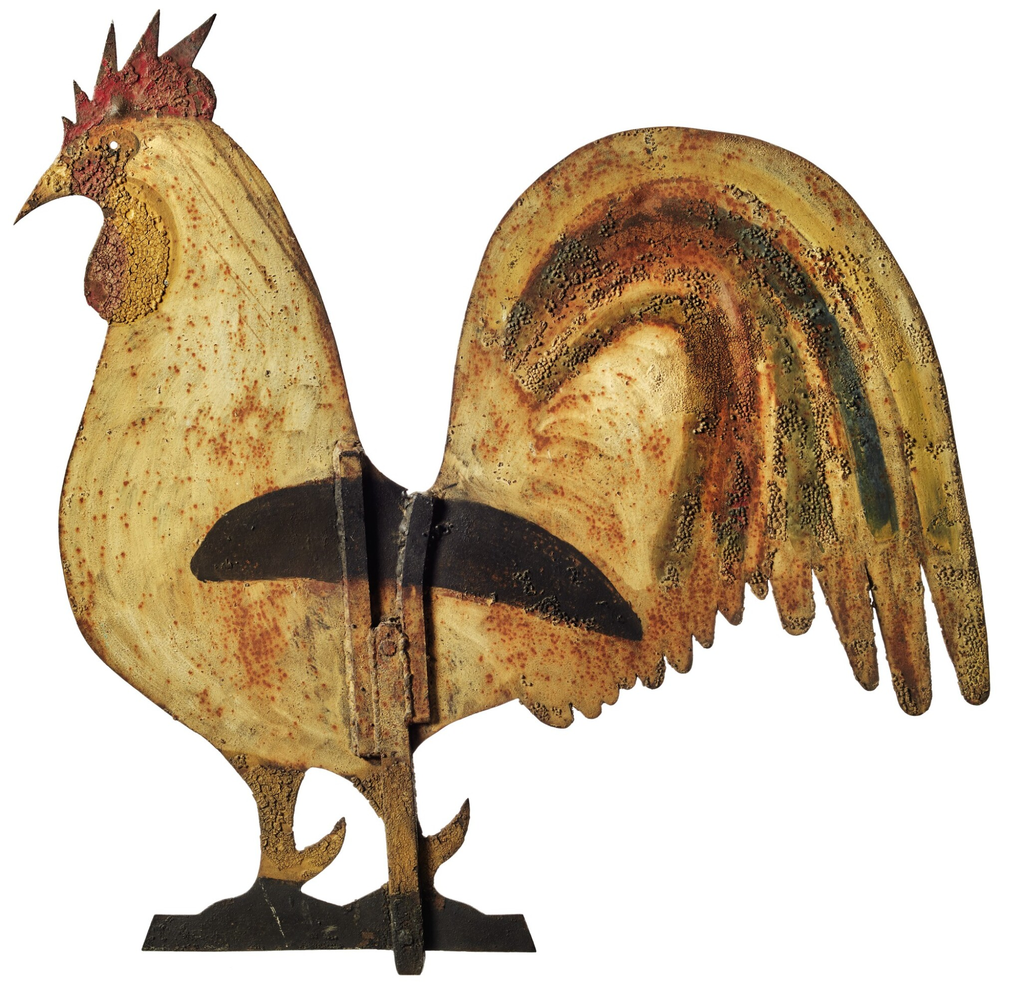 View full screen - View 1 of Lot 1426.  AMERICAN POLYCHROME PAINT-DECORATED SHEET-IRON ROOSTER WEATHERVANE, CIRCA 1870.