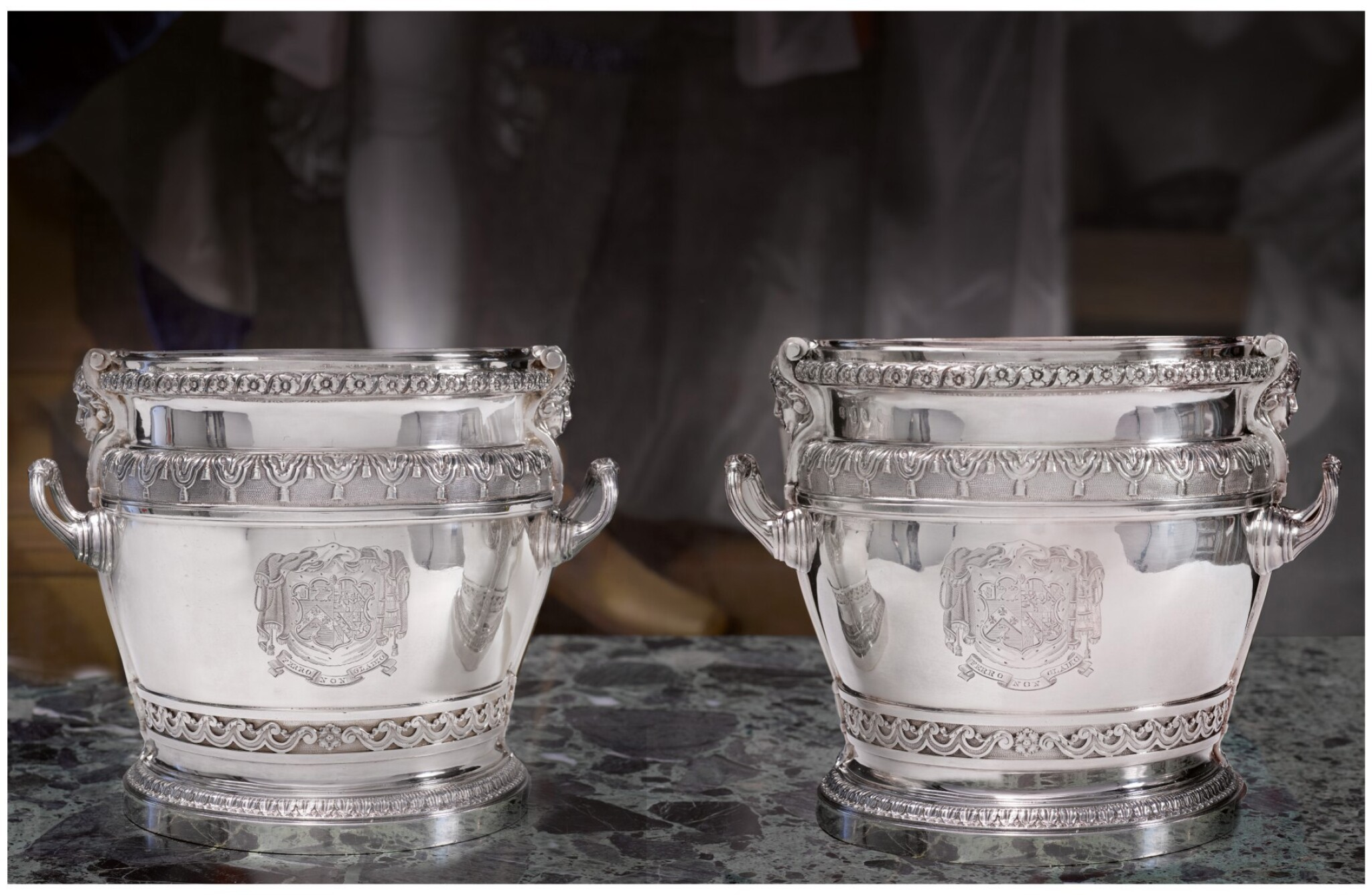 View full screen - View 1 of Lot 61. AN IMPORTANT PAIR OF WILLIAM III SILVER WINE COOLERS, DAVID WILLAUME, LONDON, 1700.