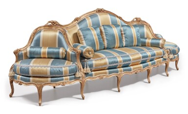 View 2. Thumbnail of Lot 64. A Louis XV Carved Giltwood Canapé à Confidents, Mid-18th Century.