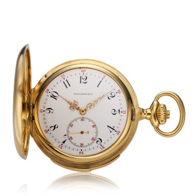 View 1. Thumbnail of Lot 98. Retailed By Spaulding & Co.: A yellow gold minute repeating hunting cased watch, Made in 1903.