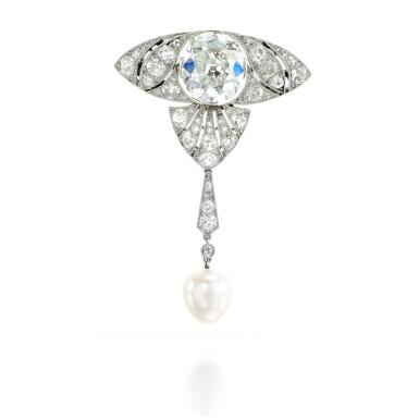 View 1. Thumbnail of Lot 34. Natural pearl and diamond brooch, attributed to Boucheron, circa 1910.