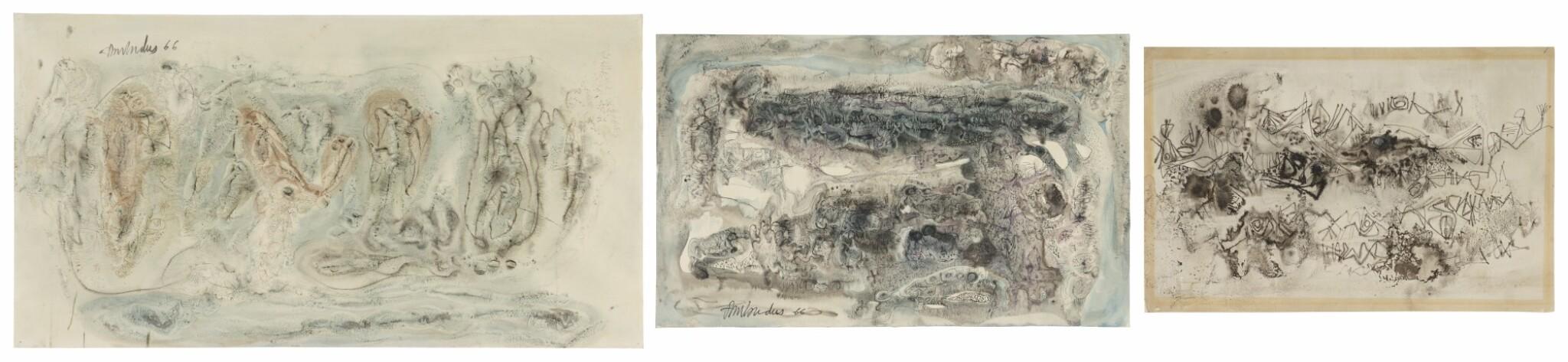 View full screen - View 1 of Lot 1837. AMBADAS KHOBRAGADE | UNTITLED (SET OF THREE) .