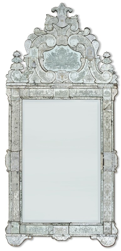 View 1. Thumbnail of Lot 145. A GERMAN ETCHED GLASS PIER MIRROR, ATTRIBUTED TO SPIEGELMANUFAKTUR LOHR AM MAIN, CIRCA 1721.