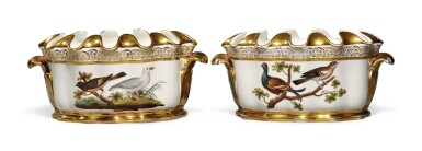 View 2. Thumbnail of Lot 271. A PAIR OF PARIS PORCELAIN NAPLES-DECORATED ORNITHOLOGICAL-SUBJECT MONTEITHS, CIRCA 1820.