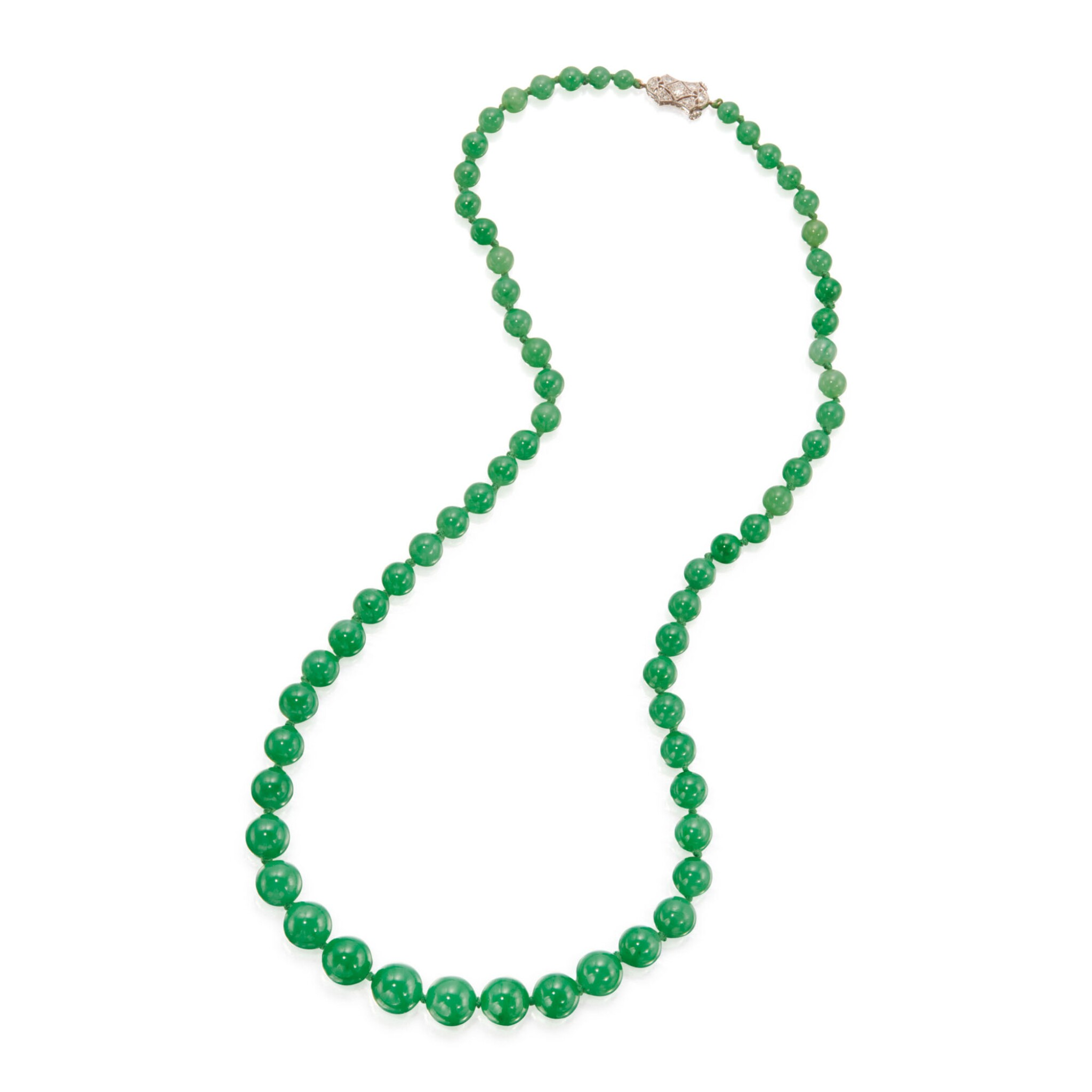 View full screen - View 1 of Lot 197. JADEITE AND DIAMOND NECKLACE.