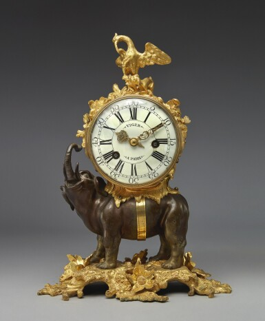 A LOUIS XV GILT AND PATINATED-BRONZE PENDULE A L'ELEPHANT, MID-18TH CENTURY