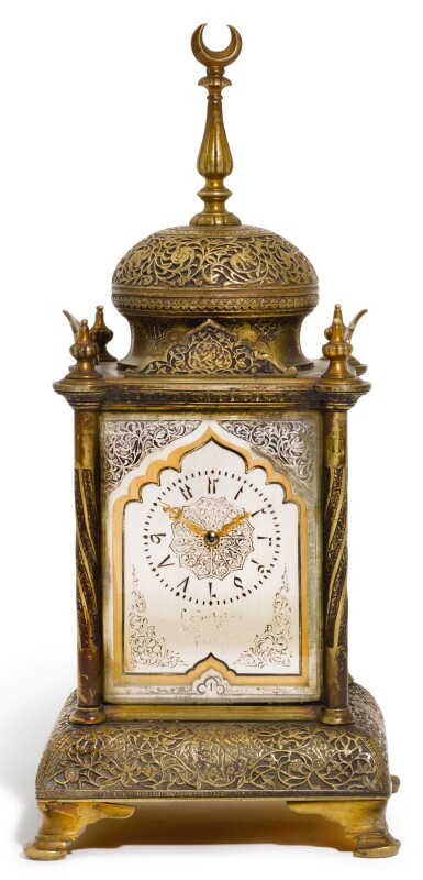 A GILT AND SILVERED-BRASS MANTEL CLOCK FOR THE TURKISH MARKET, LAFONTAINE, PARIS, CIRCA 1880