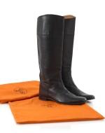 Black leather boots, Hermès