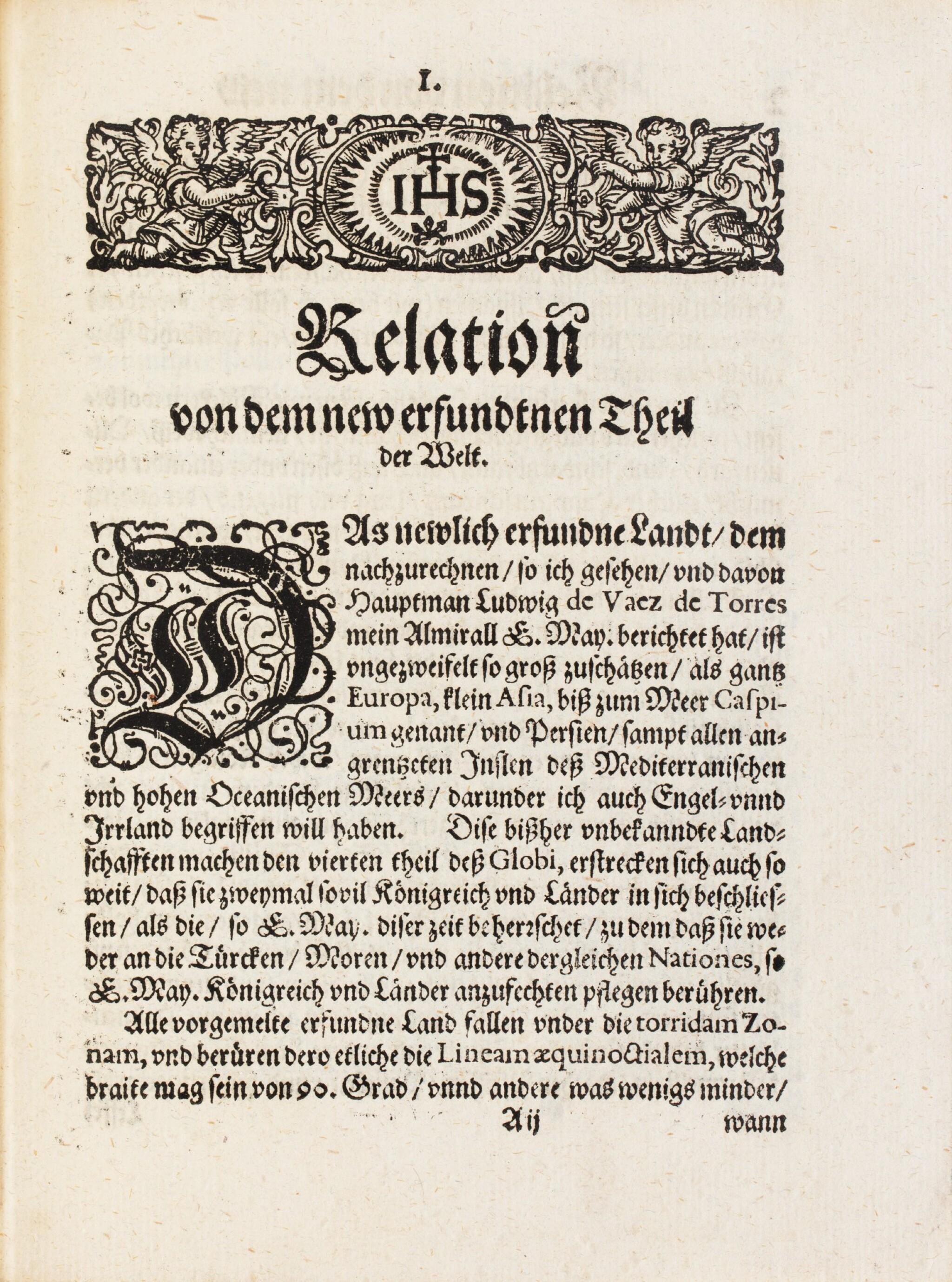 View full screen - View 1 of Lot 8. QUIROS. Relation ... von dem new erfundnem vierten theil der Welt... Augsbourg, 1611. In-4. Maroquin rouge de Lortic..