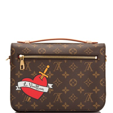 View 5. Thumbnail of Lot 114.  Louis Vuitton Monogram Patches Pochette Metis of Coated Canvas with Golden Brass Hardware.