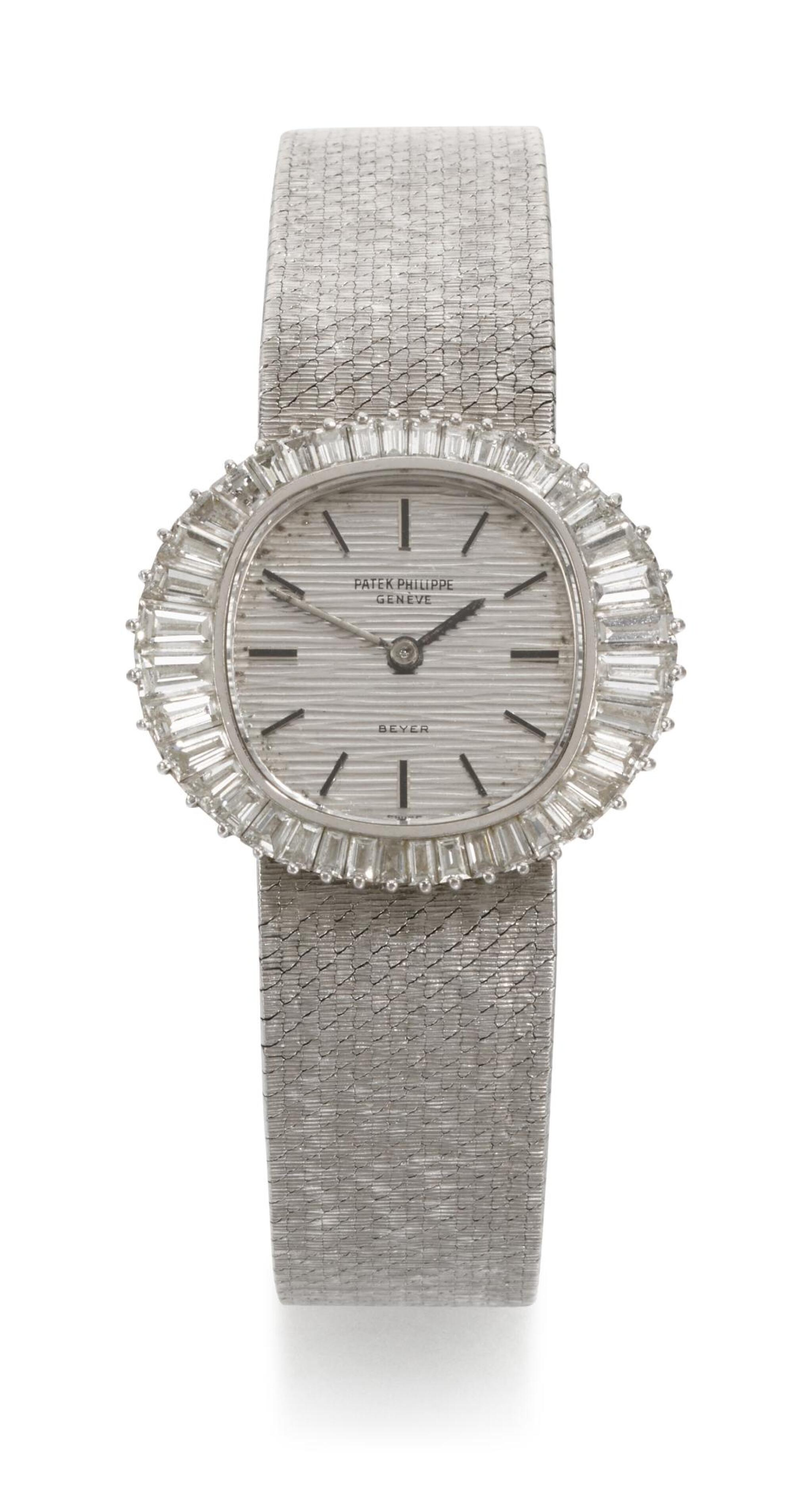 View full screen - View 1 of Lot 19. PATEK PHILIPPE   RETAILED BY BEYER, REFERENCE 3393/1  WHITE GOLD DIAMOND-SET BRACELET WATCH, MADE IN 1970.