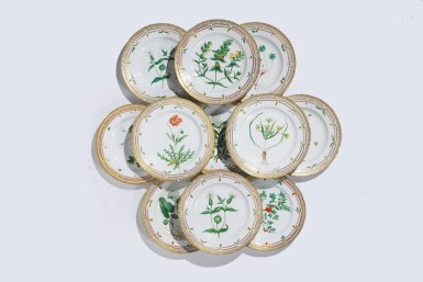 View 1. Thumbnail of Lot 956. TWELVE ROYAL COPENHAGEN 'FLORA DANICA' DINNER PLATES, LATE 19TH CENTURY AND LATER.