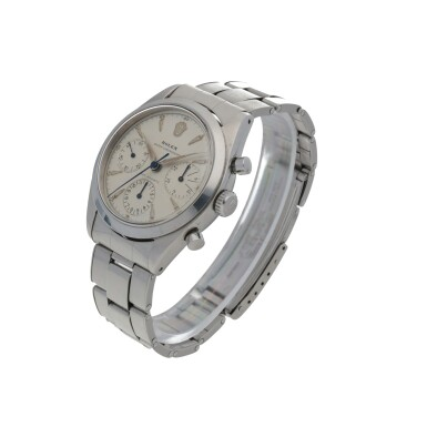 View 2. Thumbnail of Lot 401. ROLEX   'PRE-DAYTONA', REF 6238 STAINLESS STEEL CHRONOGRAPH WRISTWATCH WITH BRACELET CIRCA 1963.