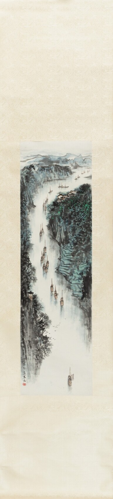View 2. Thumbnail of Lot 138. Song Wenzhi (1919-1999) Naviguer sur la rivière | 宋文治 百舸争流圖 | Song Wenzhi (1919-1999) Sailing through the Stream.