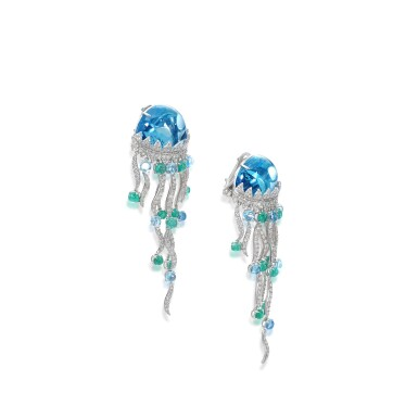 View 2. Thumbnail of Lot 22. Pair of topaz, emerald and diamond ear clips, 'Jellyfish'.