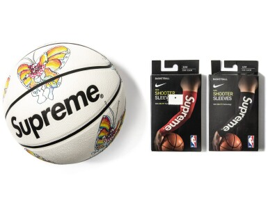 View 1. Thumbnail of Lot 8. SUPREME GONZ BUTTERFLY SPALDING BASKETBALL WITH SHOOTING SLEEVES [3 PIECES].