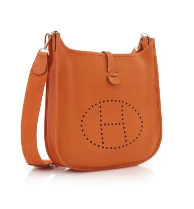 Orange leather, canvas and palladium hardware Evelyne PM 29, Hermès, 2011