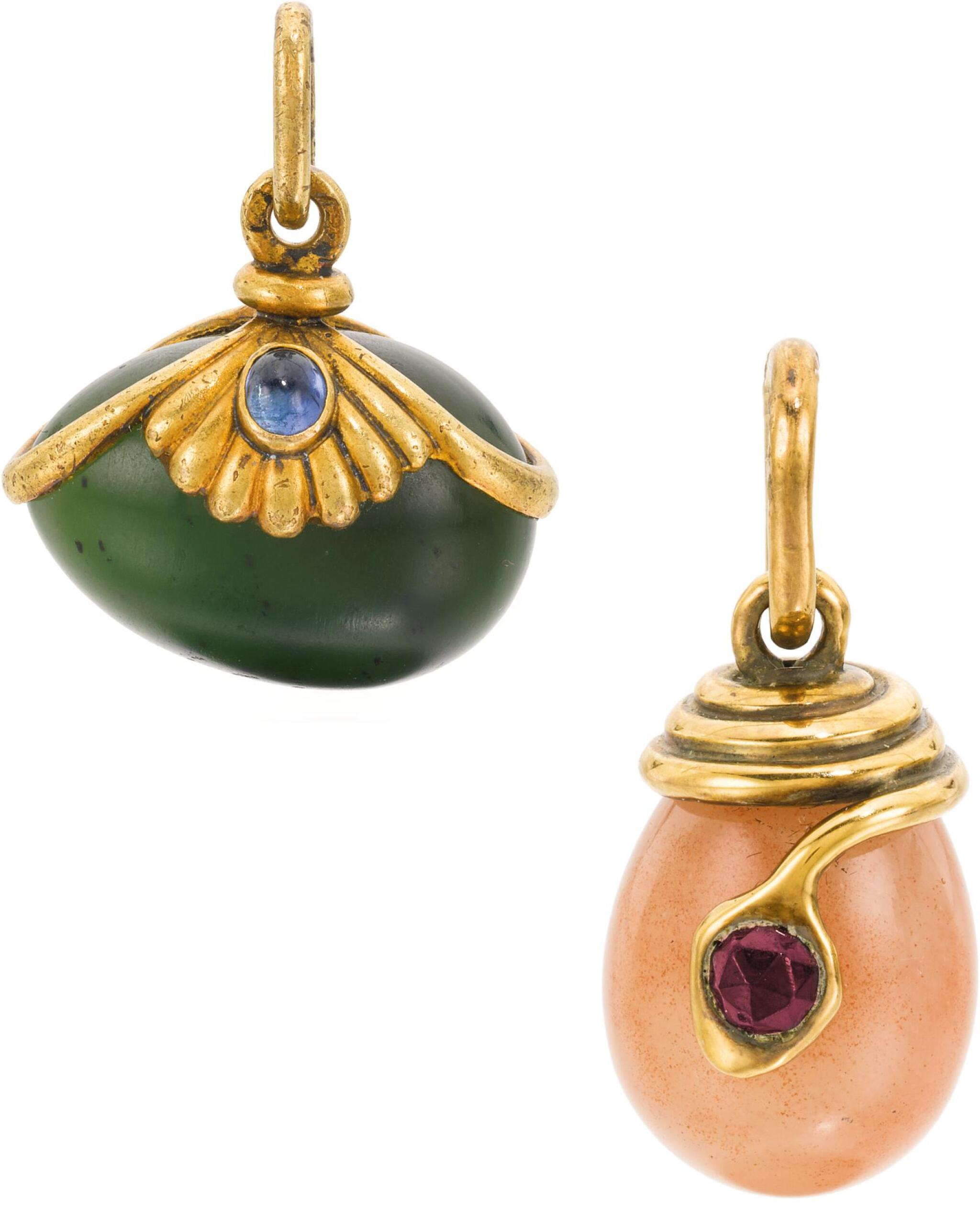 View full screen - View 1 of Lot 340. TWO FABERGÉ JEWELLED GOLD AND HARDSTONE EGG PENDANTS, ONE WORKMASTER EDUARD SCHRAMM, THE OTHER ERIK KOLLIN, ST PETERSBURG, CIRCA 1890.