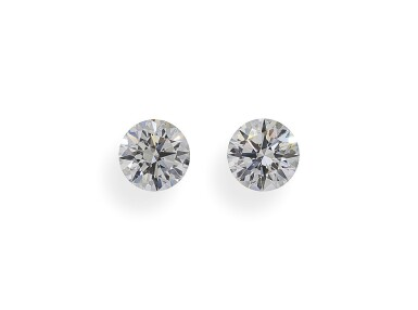A Pair of 0.61 and 0.59 Carat Round Diamonds, G Color, VS2 and SI1 Clarity