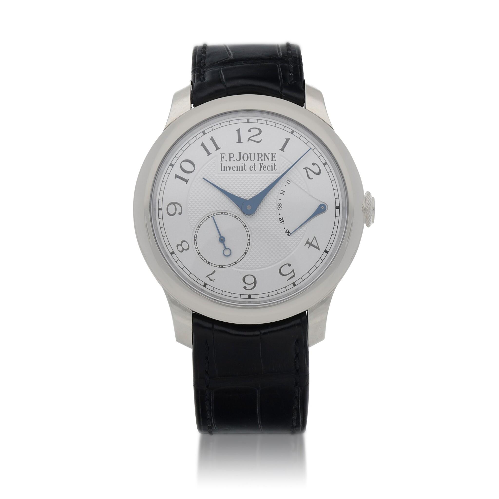 View full screen - View 1 of Lot 43. Chronomètre Souverain Platinum wristwatch with power reserve indication Circa 2020   F.P. Journe「Chronomètre Souverain」鉑金腕錶備動力儲存顯示,年份約2020.
