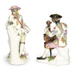 A MEISSEN FIGURE OF A CELLIST AND A MEISSEN FIGURE OF A PIPING SHEPHERD | CIRCA 1750