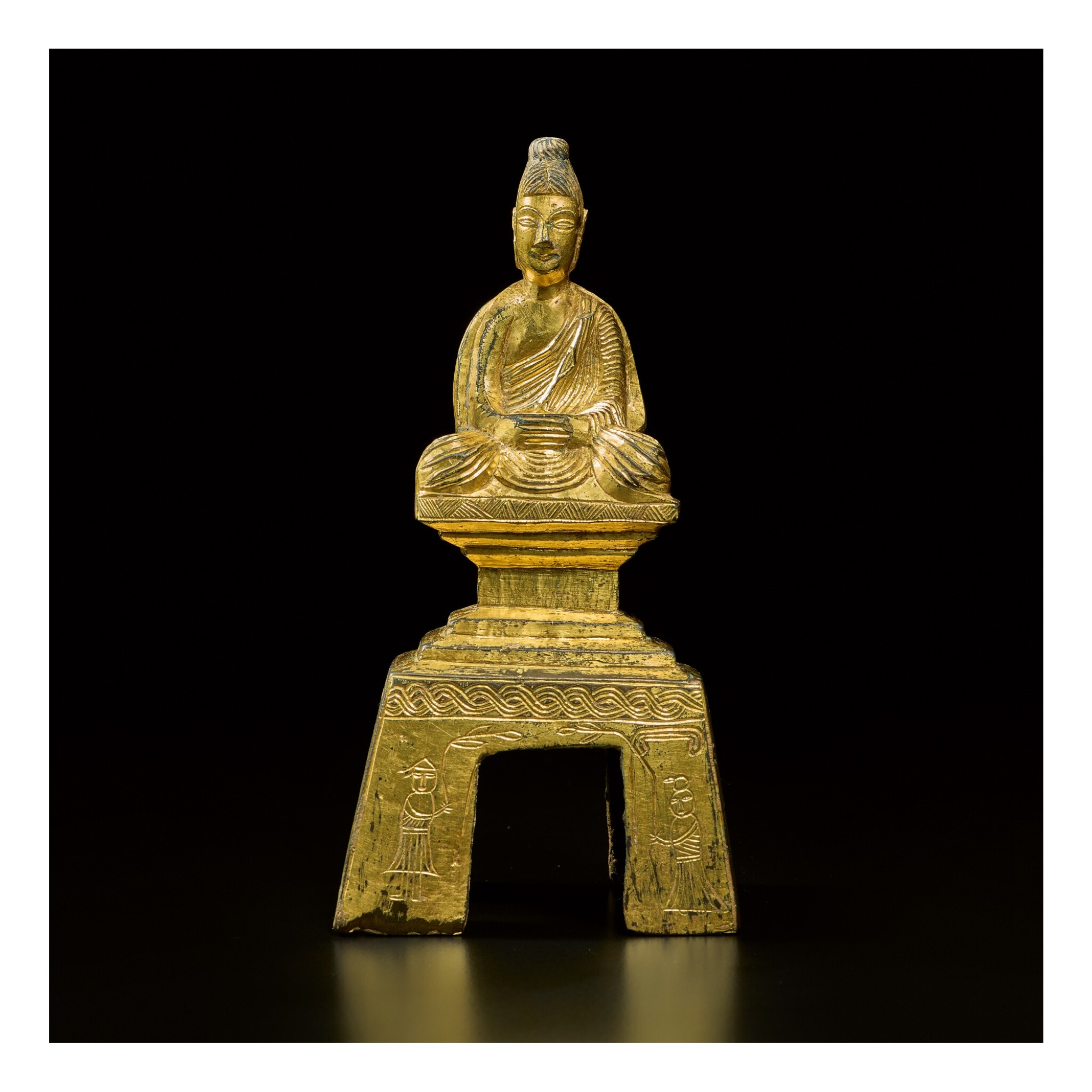 View 1 of Lot 588. A GILT-BRONZE FIGURE OF A SEATED BUDDHA,  NORTHERN WEI DYNASTY, DATED TAIHE SECOND YEAR, CORRESPONDING TO 478.
