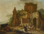 HENDRIK MEIJER | A horseman in a classical landscape, with other figures, sheep and cattle