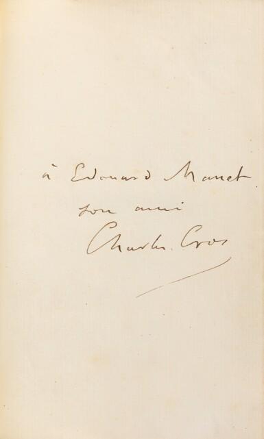 View 1. Thumbnail of Lot 86. Le Coffret de santal. 1879. Veau époque. Exemplaire de son ami Manet, dédicataire de deux poèmes..