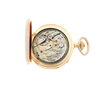 View 5. Thumbnail of Lot 40. PATEK PHILIPPE | A PINK GOLD MINUTE REPEATING HUNTING CASED SPLIT SECONDS CHRONOGRAPH WATCH, MADE IN 1892.