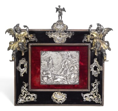 View 1. Thumbnail of Lot 150. A CONTINENTAL SILVER MOUNTED DEVOTIONAL FRAME, UNMARKED, NETHERLANDISH, 17TH & 18TH CENTURY, CENTRED BY A 17TH CENTURY EMBOSSED PLAQUETTE.
