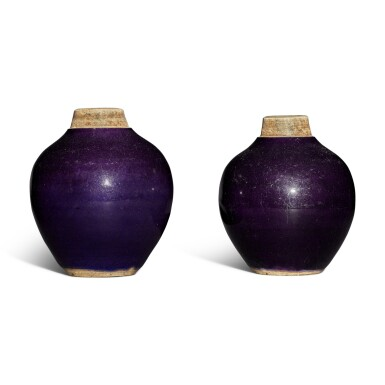 View 3. Thumbnail of Lot 117. A pair of purple-glazed tea caddies, Qing dynasty.