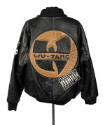 """UNCLE"" RALPH MCDANIELS' ORIGINAL LEATHER WU-TANG CLAN PARENTAL ADVISORY JACKET, ca 1993"