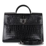 Christian Dior Black Diorever Tote of Matte Alligator with Silver Tone Hardware