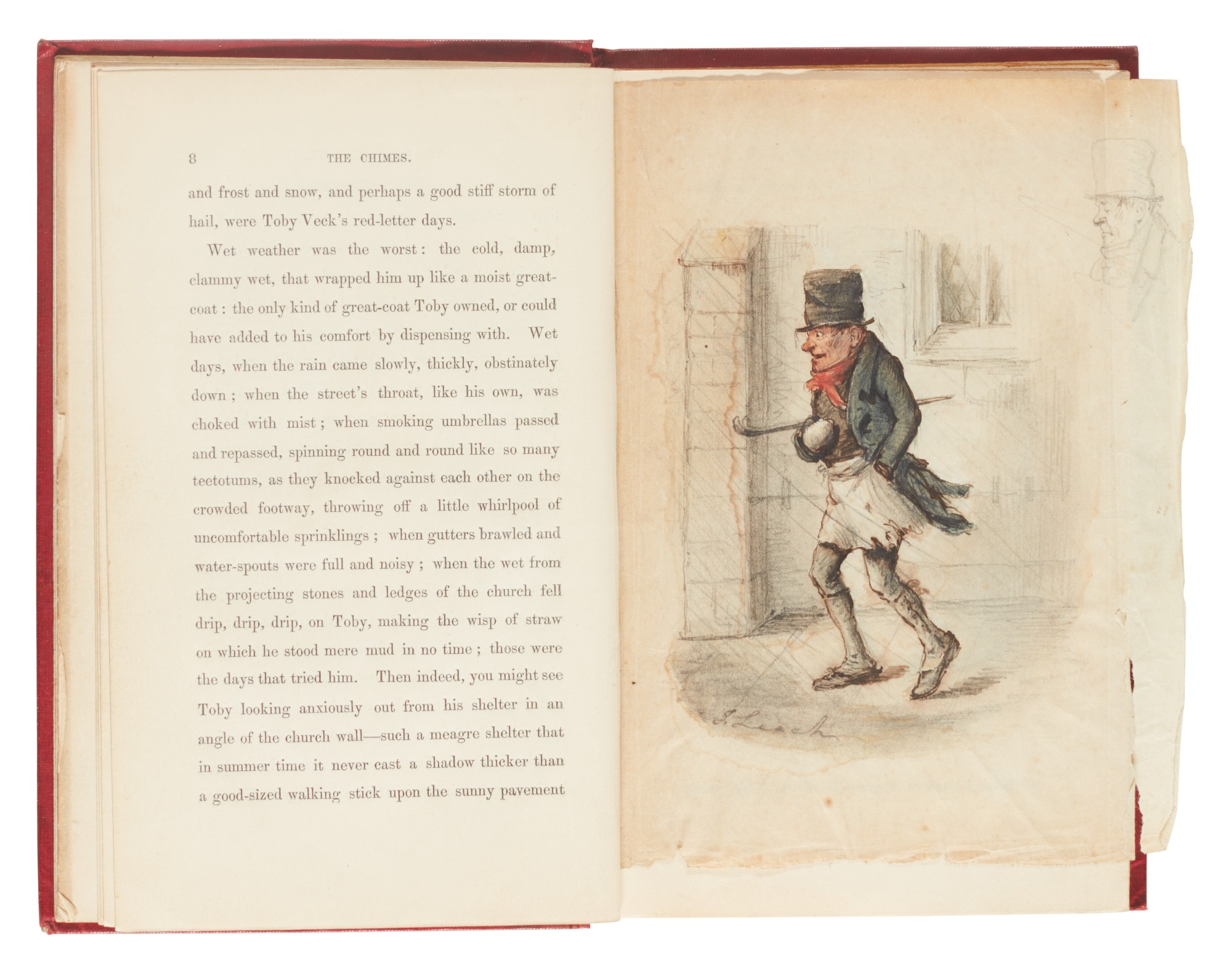 Dickens, The Chimes, 1845, first edition, with original watercolour and autograph letter signed by Maclise