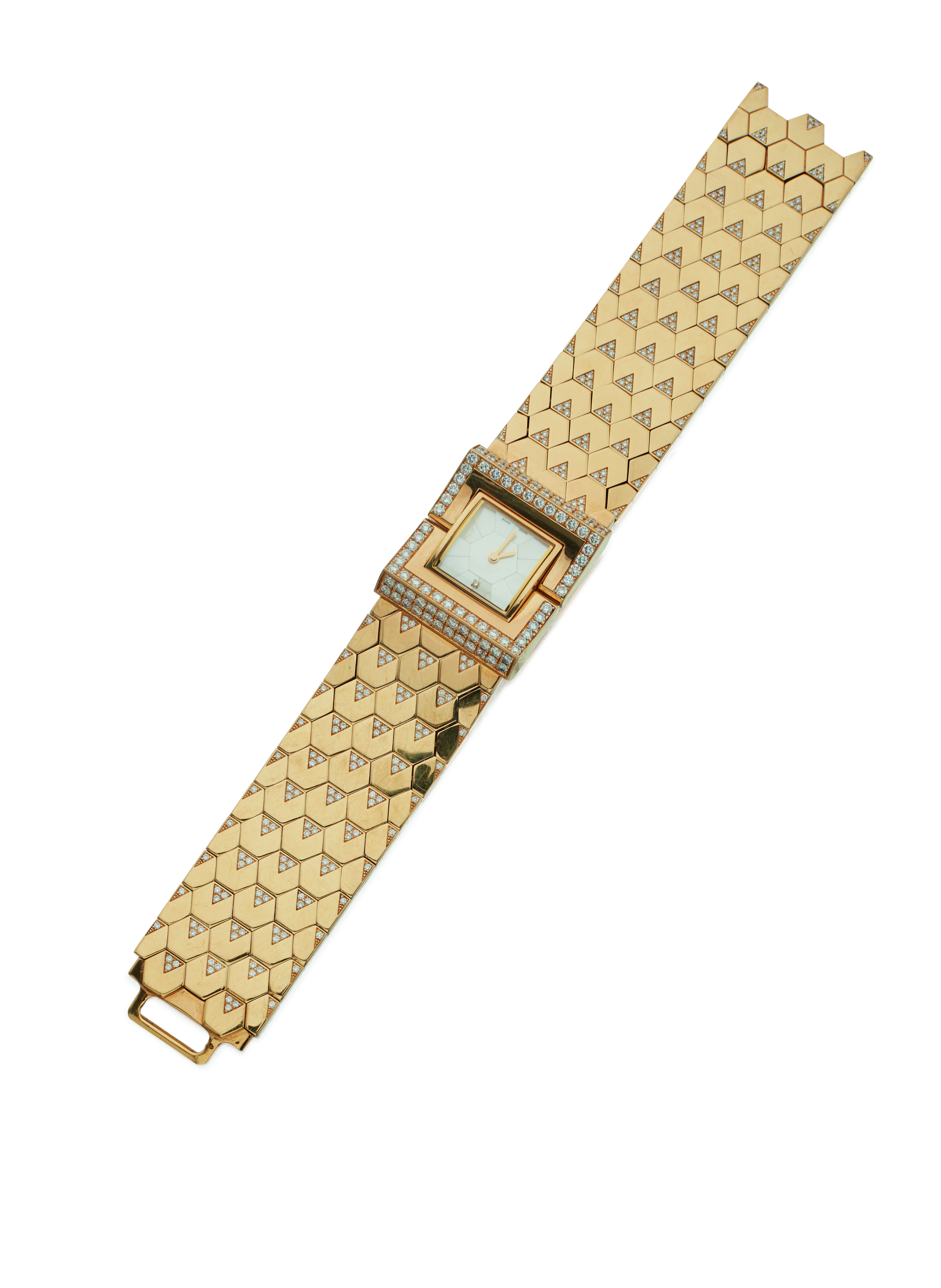 View full screen - View 1 of Lot 61. GOLD, MOTHER-OF-PEARL AND DIAMOND 'LUDO SWING' WRISTWATCH, VAN CLEEF & ARPELS.