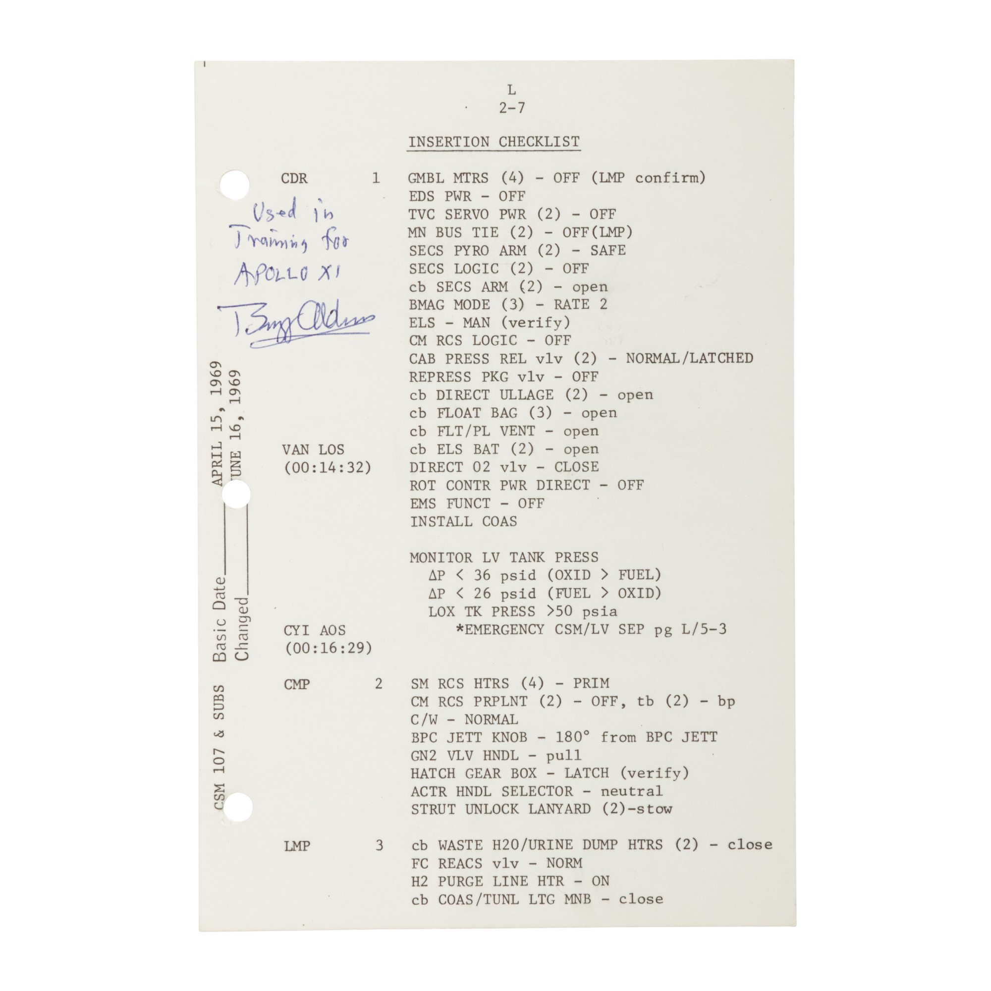 [APOLLO 11]. LAUNCH CHECKLIST TRAINING SHEET, SIGNED AND INSCRIBED BY BUZZ...
