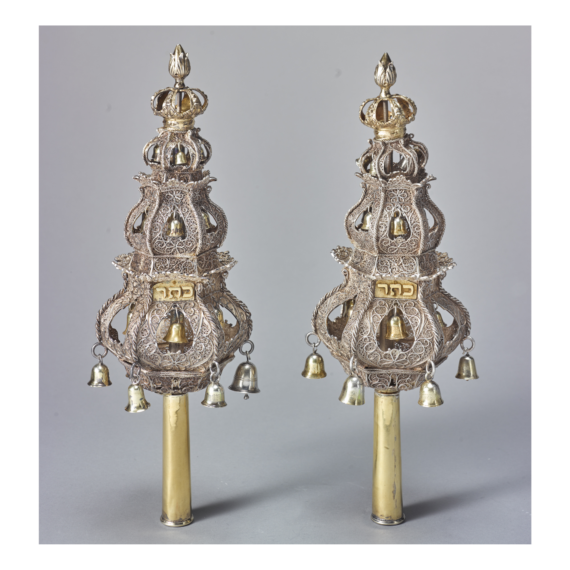 A PAIR OF DUTCH PARCEL-GILT SILVER FILIGREE TORAH FINIALS, EARLY 18TH CENTURY