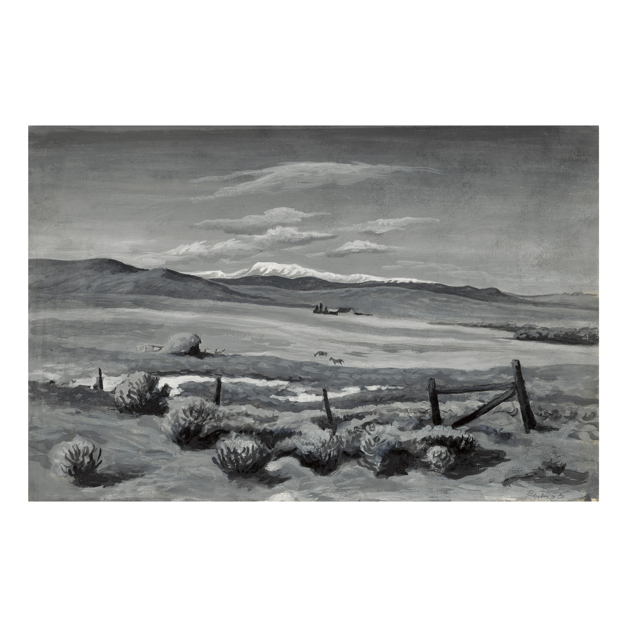 THOMAS HART BENTON | STUDY FROM NATURE (STUDY FOR 'THE WHITE HORSE BY THE GATE')