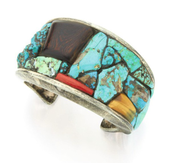 View 1 of Lot 128. CHARLES LOLOMA | TURQUOISE, WOOD, CORAL AND TIGER'S EYE CUFF-BRACELET.